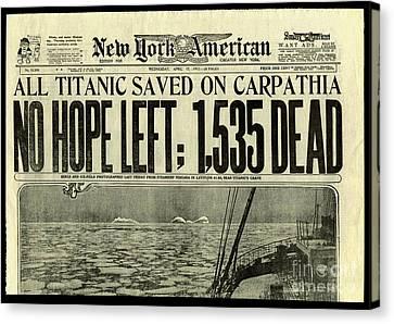 Titanic Newspaper  Canvas Print