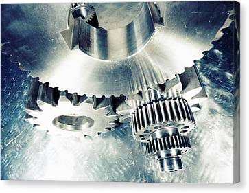 Canvas Print featuring the photograph Titanium Aerospace Cogs And Gears by Christian Lagereek