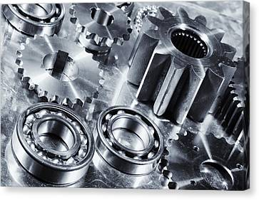 Canvas Print featuring the photograph Titanium Aerospace Engineering Parts by Christian Lagereek