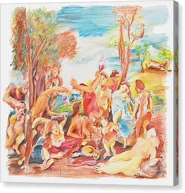 Titian Bacchanalia Color Canvas Print by Gary Peterson