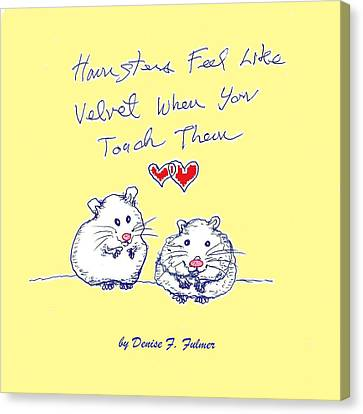 Canvas Print featuring the drawing Title Page For Hamster Book by Denise Fulmer
