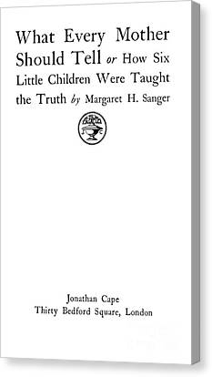 Title Page Of Margaret Sanger Canvas Print by Wellcome Images