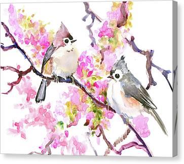 Titmice And Cheery Blossom Canvas Print by Suren Nersisyan