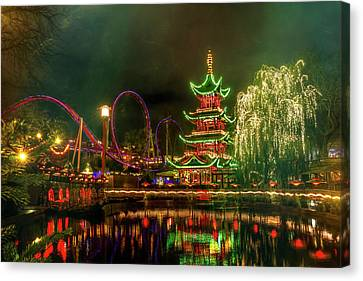 Tivoli Gardens In Copenhagen By Night  Canvas Print by Carol Japp