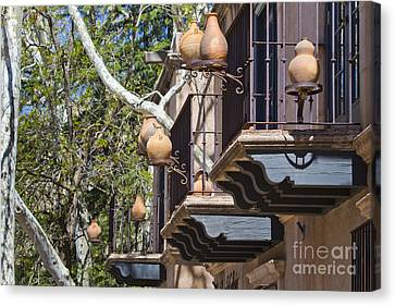 Canvas Print featuring the photograph Tlaquepaque Balconies by Chris Dutton