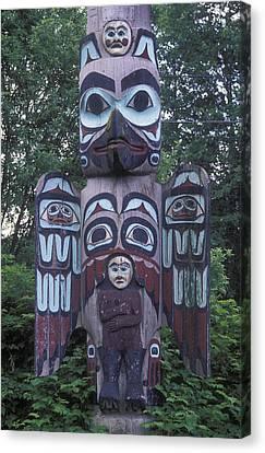 Tlingit Totem Pole, Saxman Totem Park Canvas Print by Rich Reid