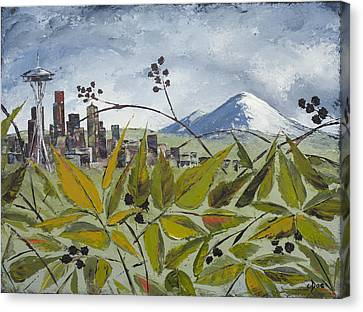 To Get To The City You Must Go Thru The Blackberries Canvas Print by Carolyn Doe