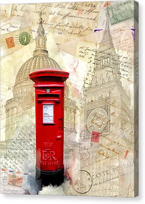 To London By Mail - Classic Post Box Canvas Print by Mark E Tisdale