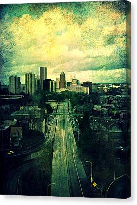 To The City Canvas Print by Cathie Tyler
