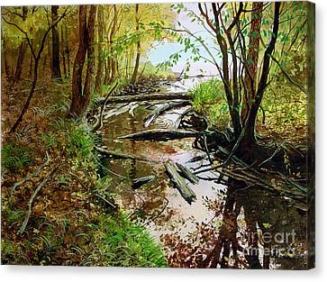 Canvas Print featuring the painting To The Lake by Sergey Zhiboedov