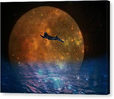 To The Moon And Back Cat Canvas Print by Kathy Barney