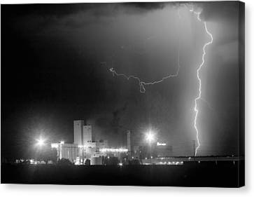 Lightning Decorations Canvas Print - To The Right Budweiser Lightning Strike Bw by James BO  Insogna