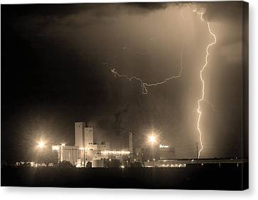 Lightning Decorations Canvas Print - To The Right Budweiser Lightning Strike Sepia  by James BO  Insogna