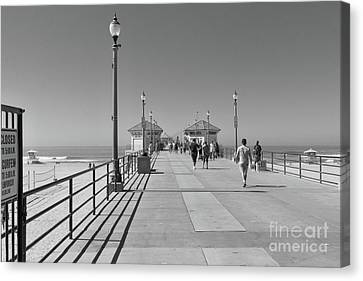 Canvas Print featuring the photograph To The Sea On Huntington Beach Pier by Ana V Ramirez