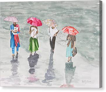 To Work In The Rain Canvas Print by Betty-Anne McDonald