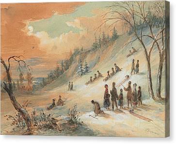 Tobogganning On A Hillside Canvas Print by James D Duncan