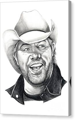 Toby Keith Canvas Print by Murphy Elliott