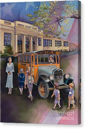 School Bus Canvas Print - Today It's West Gresham Elementary by Mike Hill