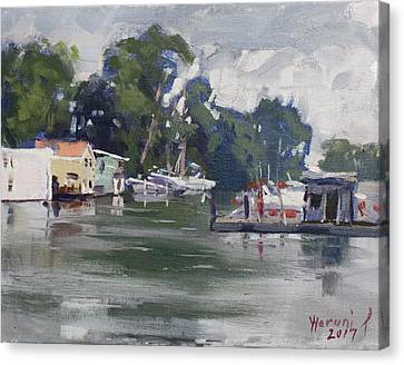 Rainy Day Canvas Print - Today's Plein Air Workshop Demonstration At Wardell Boat Yard by Ylli Haruni