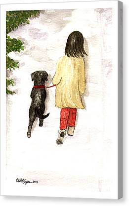 Together - Black Labrador And Woman Walking Canvas Print