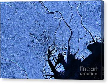 Tokyo Abstract City Map Satellite Image Blue Detail Canvas Print by Frank Ramspott