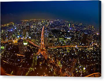 Canvas Print featuring the photograph Tokyo At Night by Dan Wells