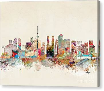 Canvas Print featuring the painting Tokyo City Skyline by Bri B