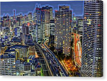 Tokyo Skyline Canvas Print - Tokyo Japan Skyline by Marvin Blaine