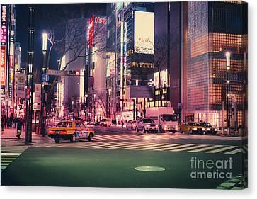Tokyo Street At Night, Japan 2 Canvas Print