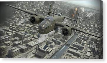 B-25 Canvas Print - Tokyo Surprise by Robert Perry
