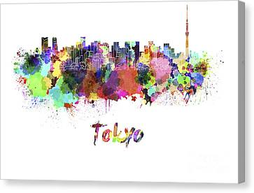 Tokyo V2 Skyline In Watercolor Canvas Print by Pablo Romero