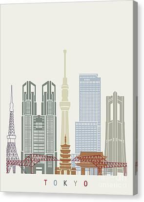Tokyo V2 Skyline Poster Canvas Print