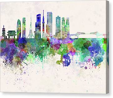 Tokyo V3 Skyline In Watercolor Background Canvas Print by Pablo Romero