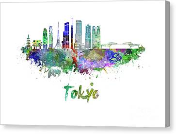 Tokyo V3 Skyline In Watercolor Canvas Print by Pablo Romero