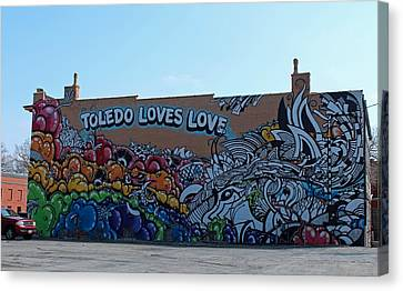Canvas Print featuring the photograph Toledo Loves Love by Michiale Schneider
