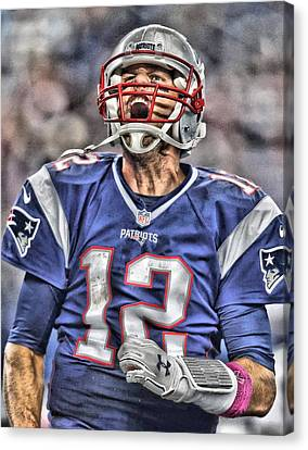 Football Canvas Print - Tom Brady Art 5 by Joe Hamilton