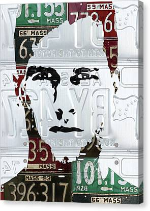 Massachusetts Canvas Print - Tom Brady New England Patriots Massachusetts Recycled Vintage License Plate Portrait Original by Design Turnpike