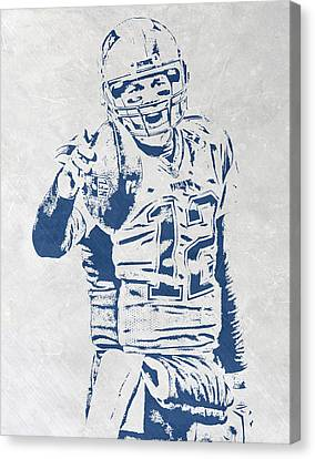 Tom Brady New England Patriots Pixel Art 3 Canvas Print by Joe Hamilton