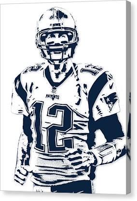 Football Canvas Print - Tom Brady New England Patriots Pixel Art 6 by Joe Hamilton