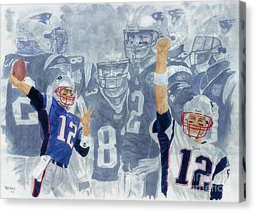 Tom Brady Quarterback Study 1 Canvas Print by George  Brooks