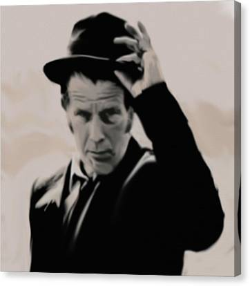 Canvas Print featuring the painting Tom Waits by Jeff DOttavio