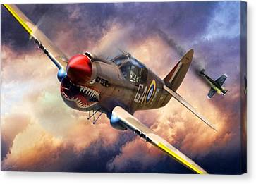 P-40 Canvas Print - Tomahawk Chop by Peter Chilelli