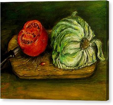 Tomato And Cabbage Oil Painting Canvas Canvas Print by Natalja Picugina