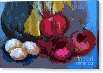 Digital Tomato And Eggs  Canvas Print by Lisa Kaiser