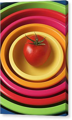 Tomato In Mixing Bowls Canvas Print by Garry Gay