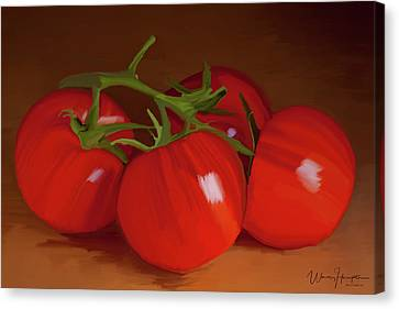 Tomatoes 01 Canvas Print by Wally Hampton