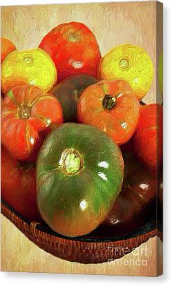 Canvas Print featuring the painting Tomatoes In A Basket Ap by Dan Carmichael
