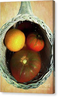 Canvas Print featuring the painting Tomatoes In A Horn Of Plenty Basket 2 Ap by Dan Carmichael