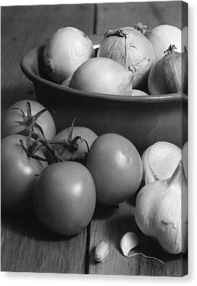 Tomatos Onion And Garlic Canvas Print by Henry Krauzyk