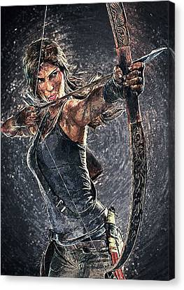 Canvas Print featuring the digital art Tomb Raider by Taylan Apukovska